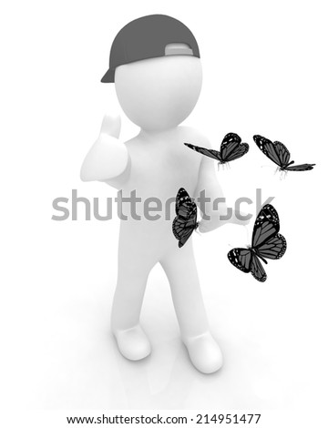 3d man in a peaked cap with thumb up and butterflies on a white background - stock photo