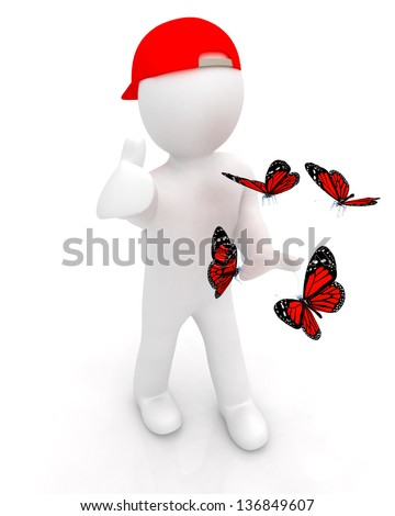 3d man in a red peaked cap with thumb up and butterflies - stock photo