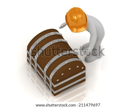 3D man in an orange helmet is going to open a old wooden chest with gold - stock photo