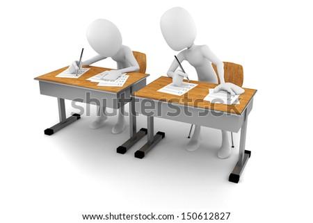 3d man in classroom, exam test - stock photo