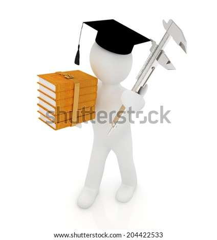 3d man in graduation hat with the best technical educational literature and vernier caliper on a white background - stock photo