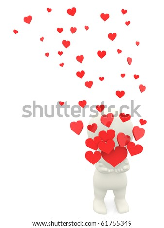 3D man in love holding red hearts - isolated over a white background - stock photo