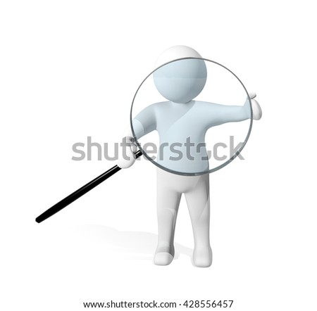 3d man investigating with magnifying glass isolated on white background, 3D rendering - stock photo