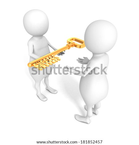 3d man is giving a golden key of success another partner. concept of business partnership or teamwork 3d render illustration - stock photo