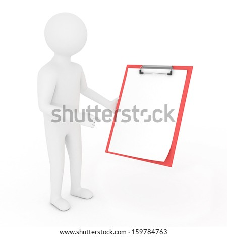 3D man is holding a clipboard, isolated - stock photo