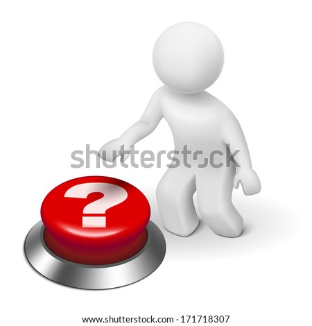 3d man is pushing the question mark button isolated white background - stock photo