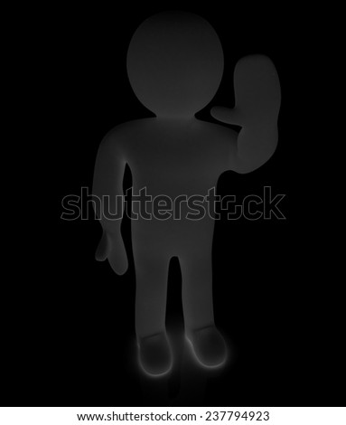 "3d man isolated on black. Series: human emotions - greeting ""Hi"" - stock photo"