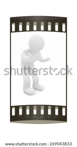 3d man isolated on white. Series: human emotions - bewilderment and disappointment. The film strip - stock photo