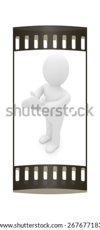 3d man isolated on white. Series: human emotions - clapping. The film strip - stock photo