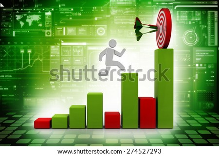 3D Man jumping across the problem to his successful goal on business graph over white background with reflection - stock photo