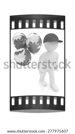 3d man keeps balloons of earth. Global holiday on a white background. The film strip - stock photo