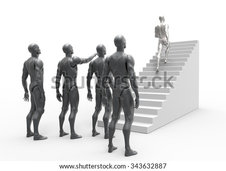 3D man leader achieves success. Stairs career growth. 3D render with white background.  - stock photo