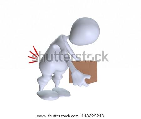 3d man lifting a heavy box incorrectly - stock photo