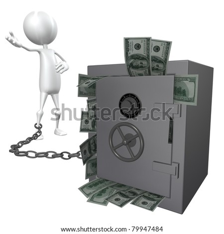 3D man linked to a safe with a chain - isolated over a white background - stock photo