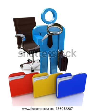 3d man looking for the document to a file folder in the design of the information related to the search - stock photo