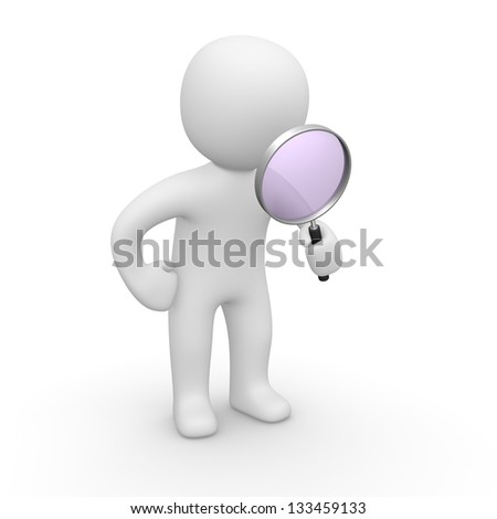 3d man looking through magnifying glass. 3d rendering. - stock photo