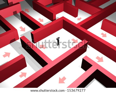 3d man lost in the midle of a red maze - stock photo