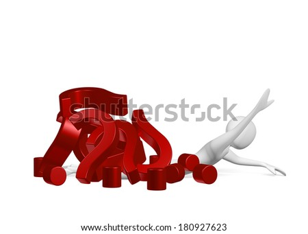 3d man lying on ground crushed by many red question marks, isolated on white - stock photo