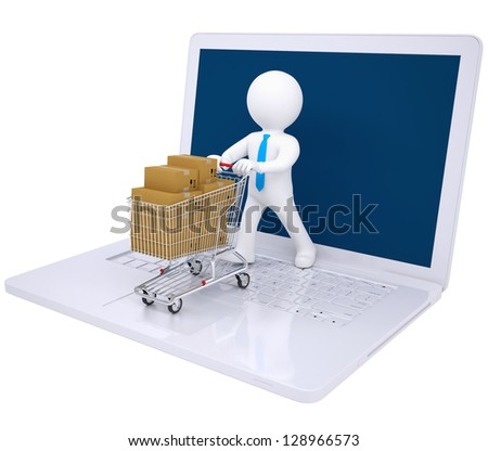 3d man made online purchases. Isolated render on a white background - stock photo