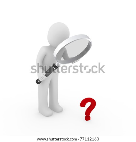 3d man magnifying glass question mark red search - stock photo
