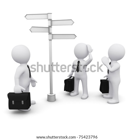 3D man making choice standing near sign post - stock photo