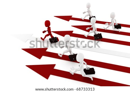 3d man on arrow - competition comcept - stock photo