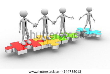 3d man on puzzle joining team work - stock photo