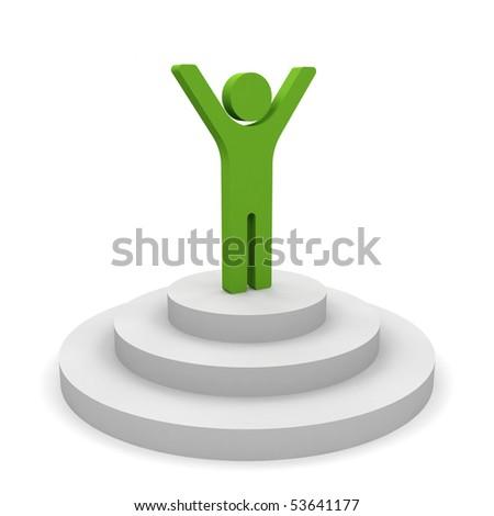 3d man on the podium. - stock photo