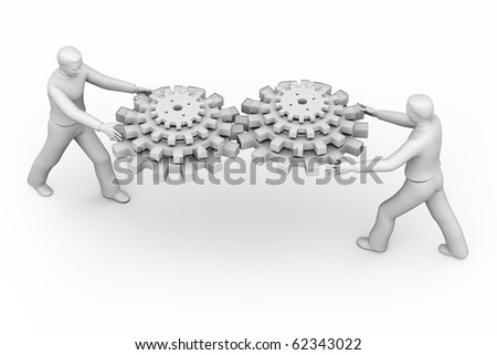 3D man passing gears isolated over a white background. - stock photo