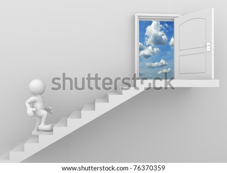 3d man people climbing the stairs to the open door - stock photo