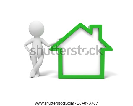3d man, people, person standing by green house - stock photo