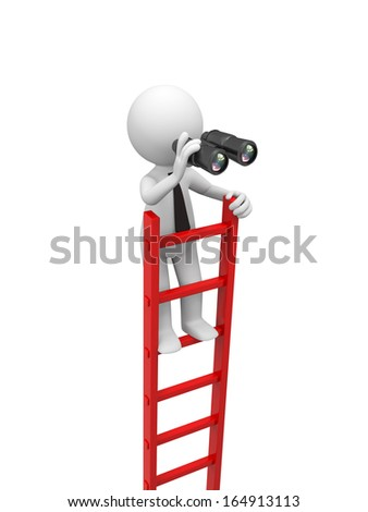 3d man, people standing on ladder , watching with a binocular - stock photo