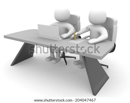 3d man - person and a laptop at a office. Business partners. 3d render - stock photo