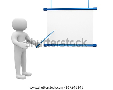 3d man - person conference, standing near a blank board - stock photo