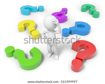 3d man, person, human and colorful question marks - stock photo