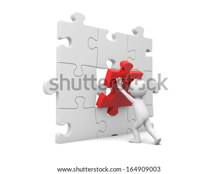 3d man, person, human assembling puzzle piece - stock photo
