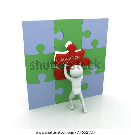 3d man placing last puzzle solution piece - stock photo