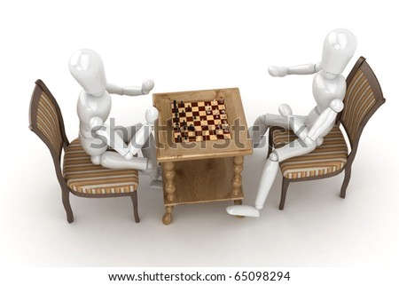 3d man playing a chess game - stock photo
