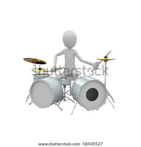 3d man playing drums set - stock photo