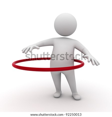 3d man plays hula hoop exercise on white background - stock photo