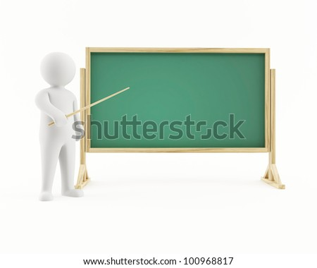 3D man pointing at a chalkboard - stock photo
