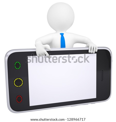 3d man points a finger at the screen smartphone. Isolated render on a white background - stock photo
