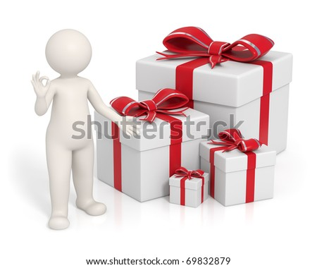 3d man presenting the red gift boxes and showing ok sign - Isolated - stock photo
