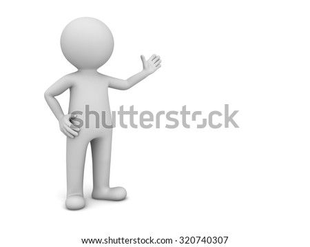 3d man presenting your product isolated over white background - stock photo