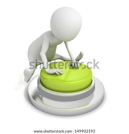 3d man pressing the green button in jump - stock photo