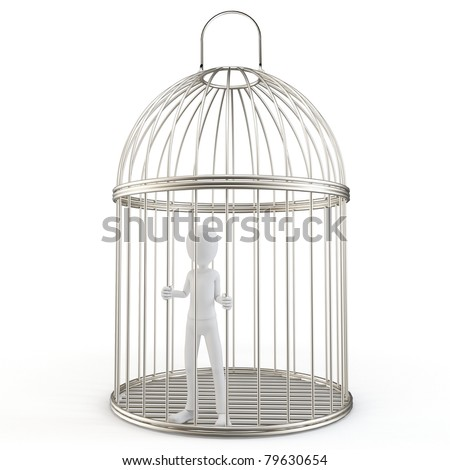 3d man prisoner in a silver bird cage isolated on white - stock photo