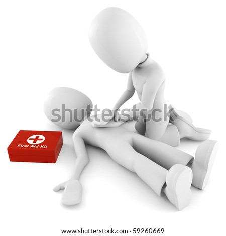 3d man providing first aid support - stock photo
