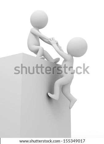 3d man pulling another to reach the top - stock photo