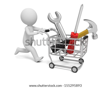 3d man pushing a cart with hammer, wrench, and screwdriver - stock photo