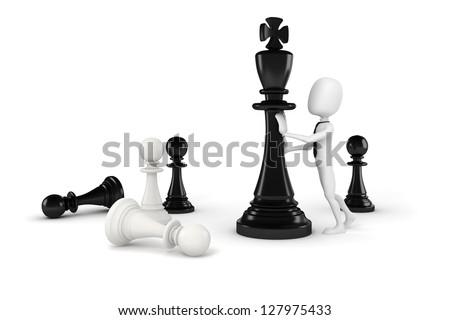 3d man pushing a king chess figure - stock photo